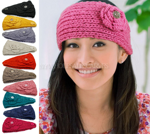 Knit Flower W/Stone Headbands 8829-18 (10 Colors, 1 Doz)