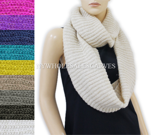Sequined Knit Infinity Scarf 680 (6 Colors, 1Doz)