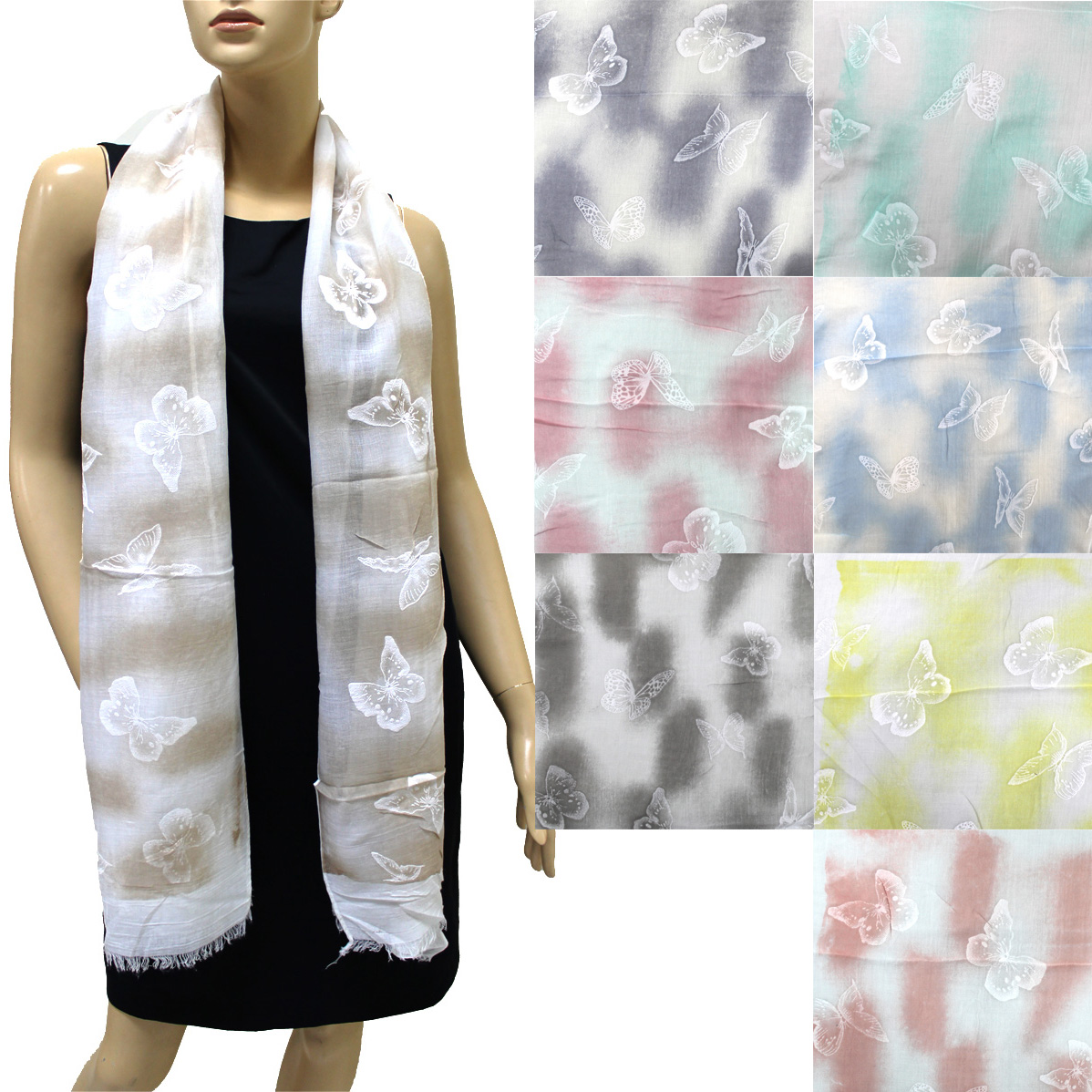 Fashion Soft Butterfly Print Scarf STR51022 (8 Colors 1 Doz)