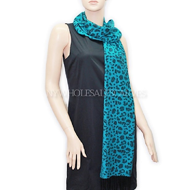 Cashmere Feel Scarf #502-6 Color: Turquoise/Black